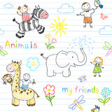 Seamless background with happy children's and animals Royalty Free Illustration