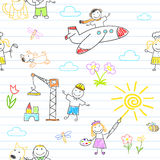 Seamless background with happy children's in work wear Royalty Free Stock Photos
