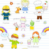 Seamless background with happy children. In work wear - fireman, hairdresser, gardener, vet, artist, chef. Sketch on notebook page in doodle style. Can be used Royalty Free Stock Photography