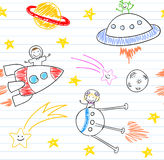 Seamless background with happy childrens and alien Royalty Free Stock Images