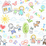 Seamless background - happy family Royalty Free Stock Images