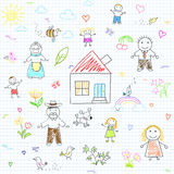 Seamless background with happy family Stock Images