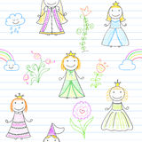 Seamless background with happy little princesses Royalty Free Stock Images