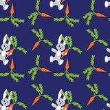 Seamless background with hares and carrots Stock Images