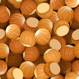 Vector seamless background with hazelnuts. Royalty Free Stock Photo