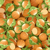 Seamless background with hazelnuts Stock Photo