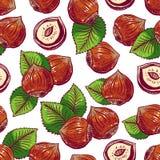 Seamless background with hazelnuts Royalty Free Stock Image