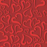 Seamless background with hearts. On red Stock Photo