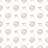Seamless background with hearts and arrows Stock Photos