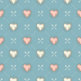Seamless background with hearts and arrows Royalty Free Stock Images