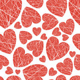 Seamless background hearts of different sizes of thread vector illustration