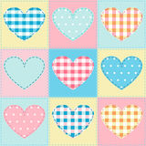 Seamless background with hearts fabric, patchwork Stock Image