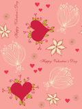Seamless background with hearts and flowers. For Valentine's day Royalty Free Stock Photography