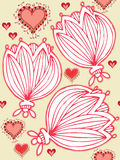 Seamless background with hearts and flowers. Seamless background with different hearts and flowers Royalty Free Stock Photo