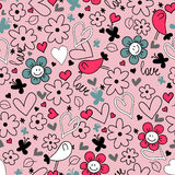 Seamless background hearts flowers and birds Royalty Free Stock Photography