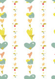 Seamless background of hearts and flowers Stock Photos