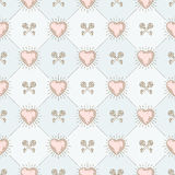 Seamless background with hearts and keys Stock Image