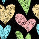 Seamless background with hearts, leaves, branches. Seamless pattern with hearts, leaves, branches on a black background with pink sprays. Vector illustration Stock Photo