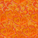 Seamless background with hearts orange Stock Photography