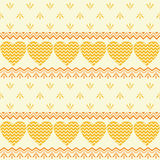 Seamless background, hearts and patterns Stock Images