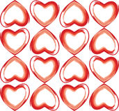 Seamless background of hearts in red color Stock Images