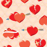 Seamless background with hearts. Red hearts on Valentine s Day with arrows and ribbons Stock Photo