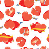 Seamless background with hearts. Red hearts on Valentine s Day with arrows and ribbons Stock Photos