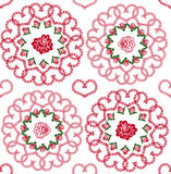 Seamless background of hearts and roses. Seamless background with ornaments of hearts and rosebuds Stock Photography