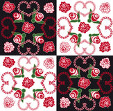 Seamless background with hearts and roses. Seamless background with black and white squares and ornament of hearts and roses Stock Photography