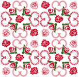 Seamless background with hearts and roses. Seamless background with a graceful ornament of roses and hearts Stock Images