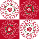 Seamless background of hearts and roses. Seamless background with red and white squares and ornament of hearts and roses Stock Image