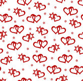 Seamless background with hearts and star elements. Red hearts and star elements on white background. Seamless  illustration Stock Photography