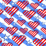 Seamless background with hearts and stars in the b. Seamless background with blue stripes with stars and red hearts Royalty Free Stock Photography