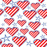 Seamless background with hearts and stars. Seamless background with hearts of red stripes and white stars Royalty Free Stock Images