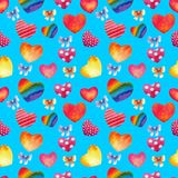 Seamless background. Hearts watercolor. Happy Valentine`s day. Blue background. stock photo