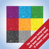 The seamless background with home appliance items. 9 variants of colors Stock Photography