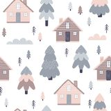 Seamless background with home and forest royalty free illustration