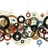 Seamless background with horizontal repeating circles and arrows. Seamless pattern, vector royalty free illustration