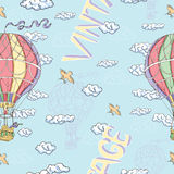 Seamless background with hot air balloons, clouds and birds Royalty Free Stock Photo