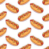Seamless background with hot dogs. Cute seamless background with appetizing hot dogs. hand-drawn illustration Royalty Free Stock Images