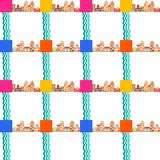 Seamless background with houses. Original squared pattern. Stock Images