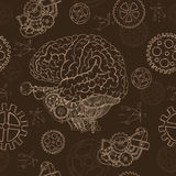 04_Seamless background with human brain and mechanical parts. Seamless background with human brain, old mechanism and cogs.  Hand drawn repeated background with Royalty Free Stock Photos