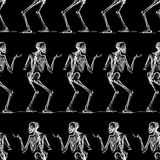 Pattern of the sketches of striding skeletons. Seamless background of the human skeleton sketches Royalty Free Stock Photography