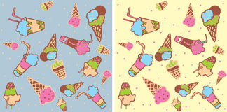 Seamless background with ice-cream Royalty Free Stock Photos