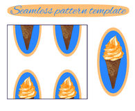 Seamless background: ice cream cone on white. VECTOR template. Icecream with orange cream on blue. Royalty Free Stock Photo