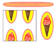 Seamless background: ice cream cone on white. VECTOR template. Icecream with red cream on yellow. Stock Photos