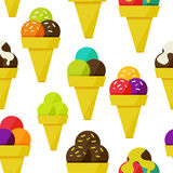 Seamless background with ice-cream vector illustration Stock Images