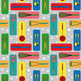 Seamless background with icons of kitchen ware Royalty Free Stock Image