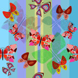 Seamless illustration with butterflies and colored. Seamless background illustration with butterflies and colored lines Royalty Free Stock Photos