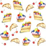 Seamless background.  Illustrations of the cake. Beautiful batch Royalty Free Stock Photos